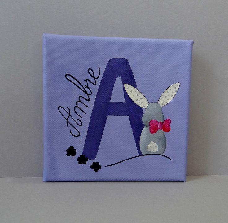 Tableau prénom pour chambre d'enfant lapin