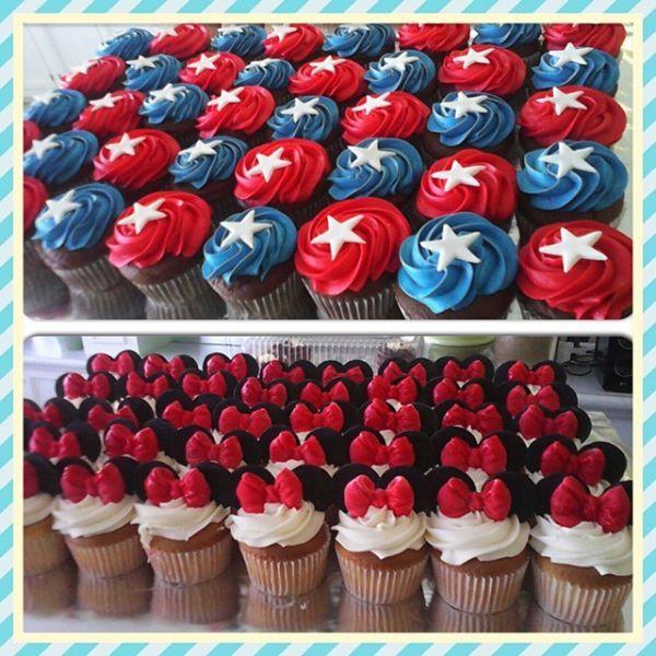 Mini y capitan america cupcakes