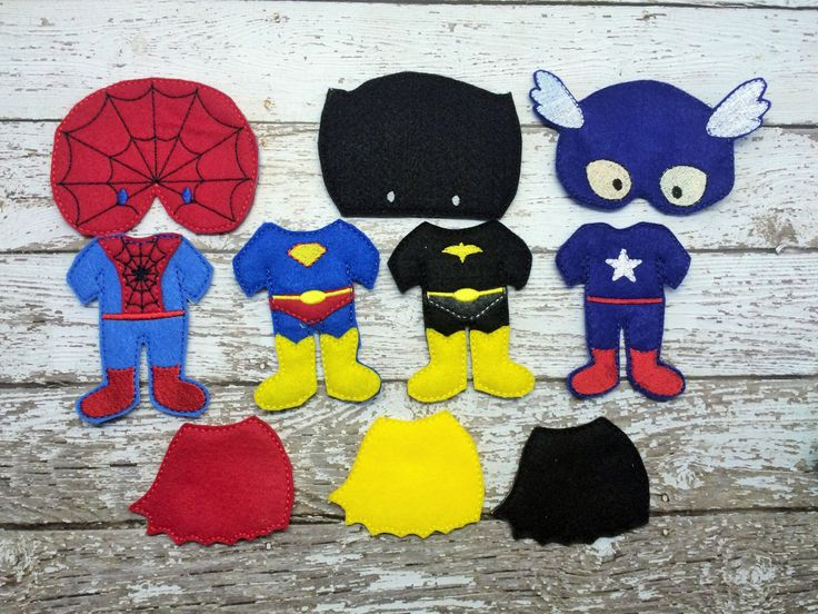 New to RosieKEmbroidery on Etsy: Super Hero Inspired Flat doll BOY set OUTFITS only flannel board felt board busy bag quiet book soft preschool and kindergarten (19.99 USD) felt board felt doll non paper doll travel toy quiet toy dress up doll flat doll pretend play Customizable doll preschool superhero Captain America spiderman