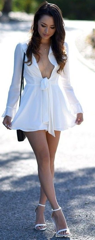 White Front Bow Playsuit                                                                             Source
