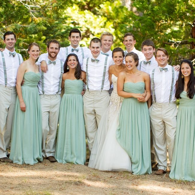 Casual khaki groomsmen attire and dusty green bridesmaid dresses