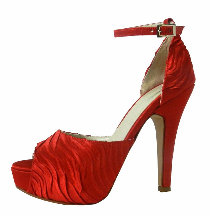 Modelo Alvia en Saten Rojo plisado combinado con Saten Rojo liso - MarF Zapatos