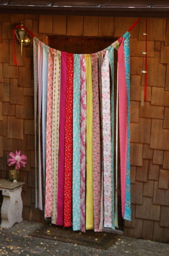 Long Fabric Strips, Photo Prop, Wedding Decoration, Festive and FUN. Pink, Aqua, Yellow. Ready to Ship.