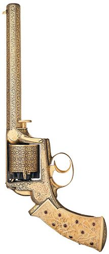 Gold Damascened Deane, Adams & Deane Self-Cocking Percussion Revolver with Relief Carved Ivory Stock Inlaid with 19 Inlaid Rubies.