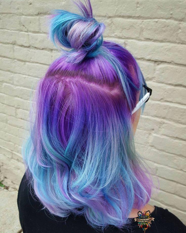 Purple blue ombré hair ( Instagram photo by @hairbykaseyoh )