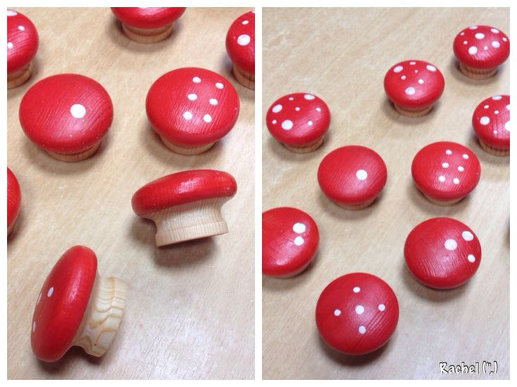 """'Numbered' (spots from 1-10) toadstools made by painting drawer handles - from Rachel ("""",)"""