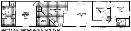 single wide mobile home floor plan 785CT