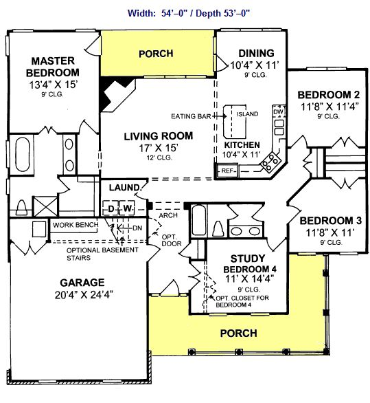 House plan with four bedrooms and a porch. LOVE.... will I ever get to have a new house?