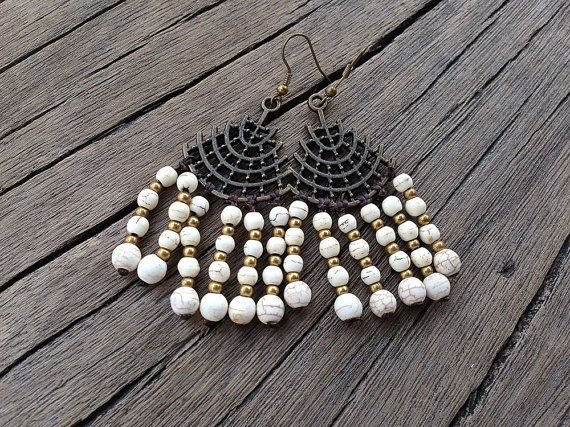 White Howlite Chandelier Earring Antique Copper by PiscesAndFishes, $25.00