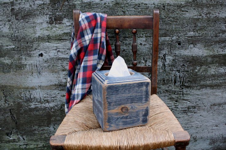 IN STOCK Rustic Wood Tissue Box Cover Holder Distressed Navy Square Routed Edge by TheUnpolishedBarn on Etsy https://www.etsy.com/listing/491378408/in-stock-rustic-wood-tissue-box-cover