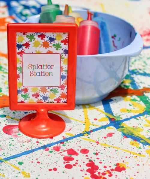 Art Party Splatter Paint Station from playpartypin.com