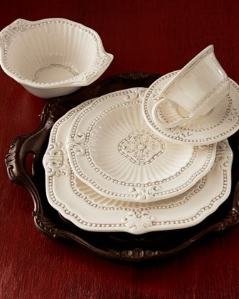 """Wood handled chargers!  20-Piece """"Ivory Baroque"""" Dinnerware Service at Neiman Marcus."""
