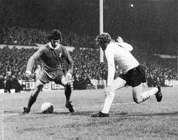 25th November 1972. Liverpool winger Kevin Keegan tormenting Tottenham Hotspur full back Terry Naylor, at White Hart Lane.