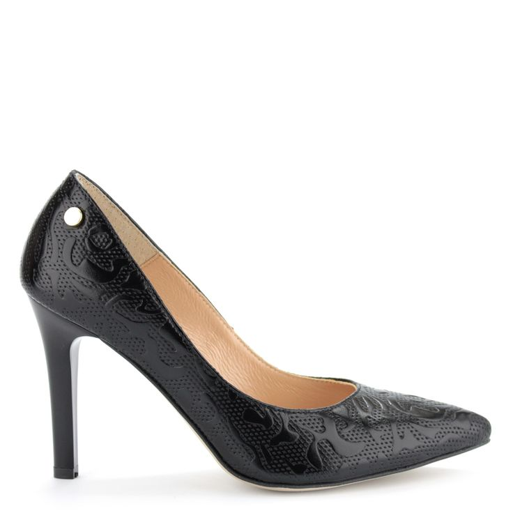 Prestige alkalmi cipő - Magas sarkú nyomott mintás fekete alkalmi cipő   ChiX.hu cipő webáruház - http://chix.hu