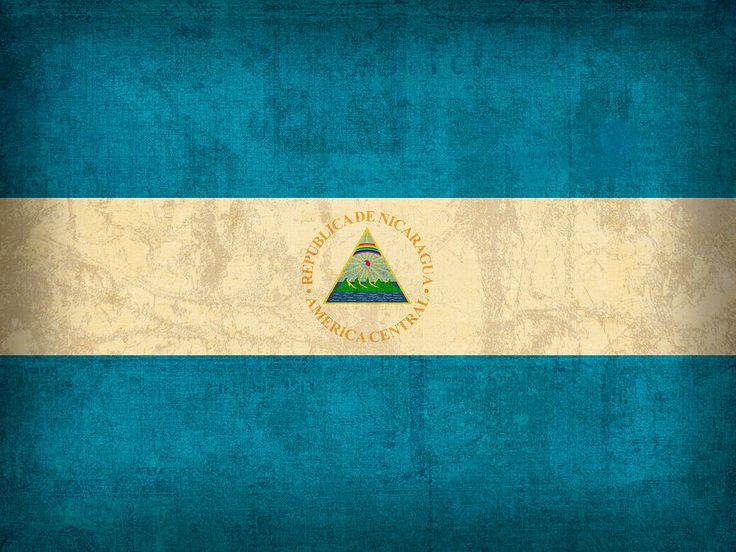 Nicaragua Flag Vintage Distressed Finish Mixed Media