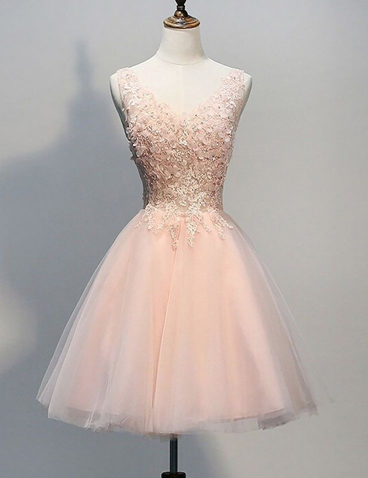 A-Line V-Neck Dresses,Peach Lace Homecoming Dresses,Short Homecoming Dresses,Cute Party Dresses 2017