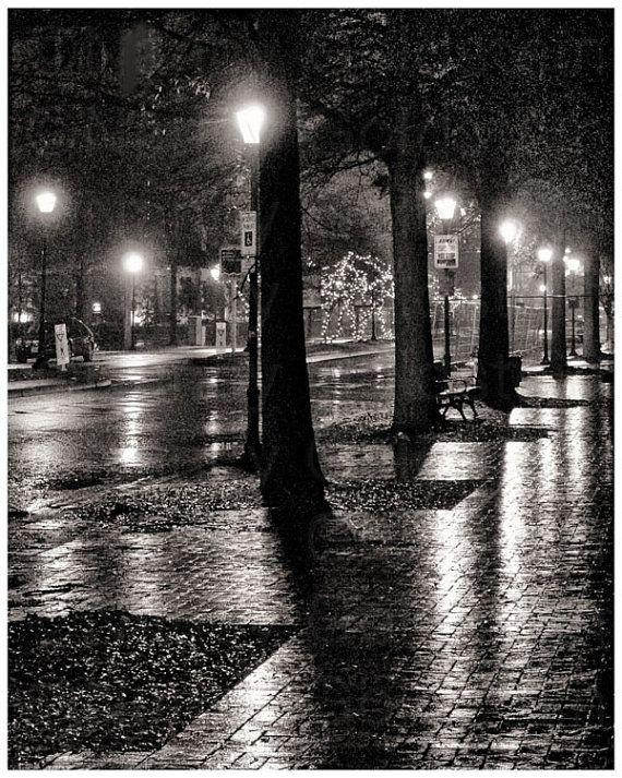 Rainy Night on High Street, Olde Towne, Portsmouth, Virginia, night scene, sepia, fine art photography, black and white photo print