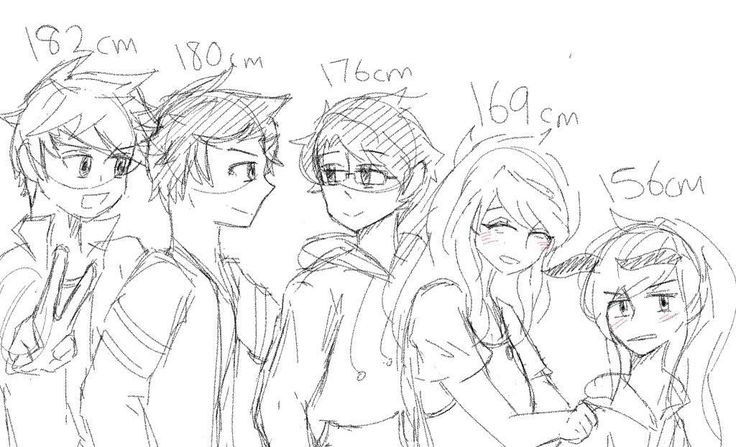 Ive gotten so lazy that I didn't even line this, just take this sketch///Am I wrong for assuming these heights?? Btw this was before they were fused with animals.. #glenwood #glenwoodprep #sketch #doodle #faylen #zaylen #faven #zaven #alltheships #doodle