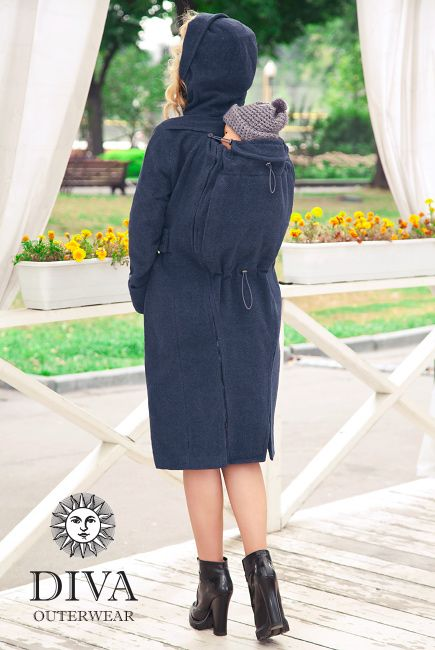 The Diva Wool Babywearing Coat with a back carry option will protect you and…