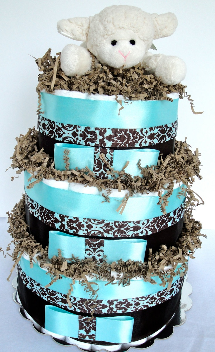 Baby Diaper Cake Decoration : Diaper Cake - Baby Boy Light Turquoise Blue & Brown Lamb ...