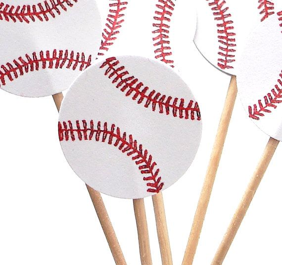 24 Baseball Cupcake Toppers Food Picks Sandwich by BelowBlink