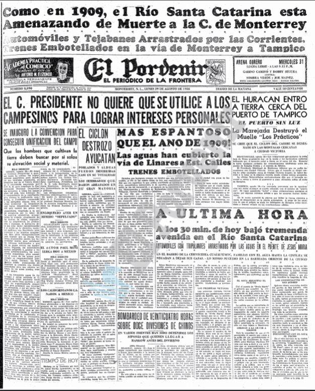 Primera Plana del Periódico El Porvenir  Monterrey N.L. Lunes 29 de Agosto de 1938  Copiado de la página de Fermín Téllez