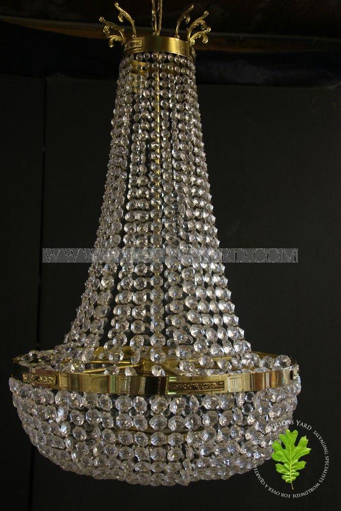 French Sac De Perle Chandelier in Brass
