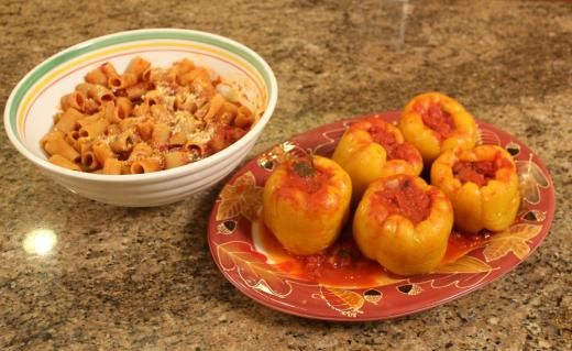 recipe imageNonna Giulia's Stuffed Peppers... and with the sauce you make a nice dish of pasta! - See more at: http://www.cookingwithnonna.com/italian-cuisine/nonna-giulias-stuffed-peppers.html#sthash.qK5EKGvG.dpuf