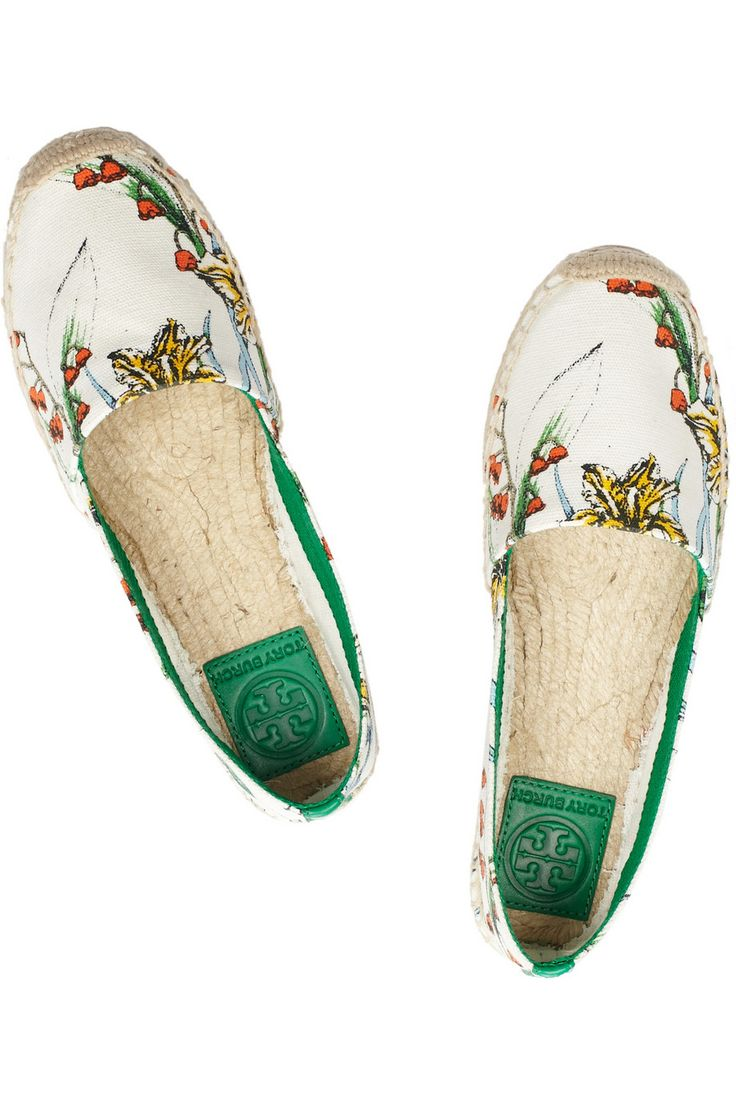 Tory Burch | Catalina printed cotton-canvas espadrilles | NET-A-PORTER.