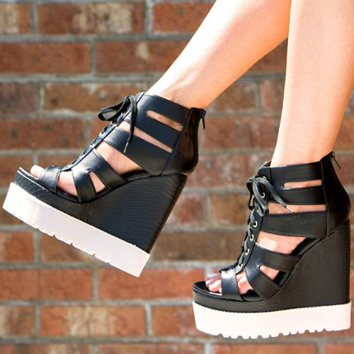 Privileged Shoes Laced Platform Wedges