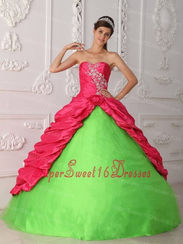 Cute Spring Green and Hot Pink Sweet 16 Dress Sweetheart Taffeta Appliques and Ruch Ball Gown
