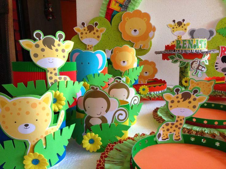 Decoraciones infantiles animalitos de la selva - Decoraciones de mesas ...