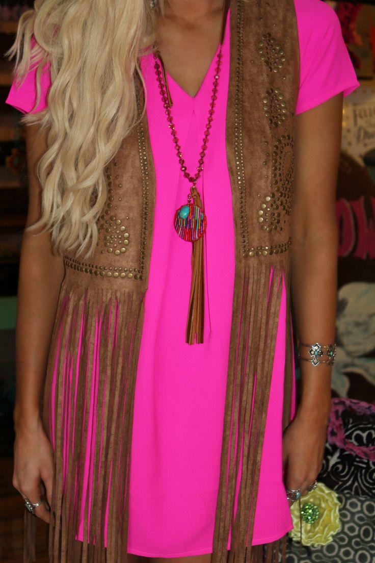Miranda Studded Fringe Vest - The Lace Cactus