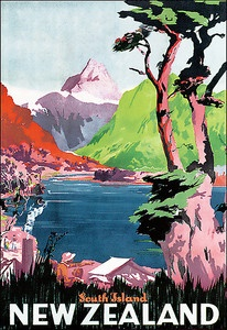 Poster South Island New Zealand - Vintage travel posters for office