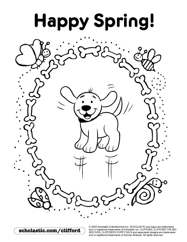 happy spring coloring page - Clifford Puppy Days Coloring Pages