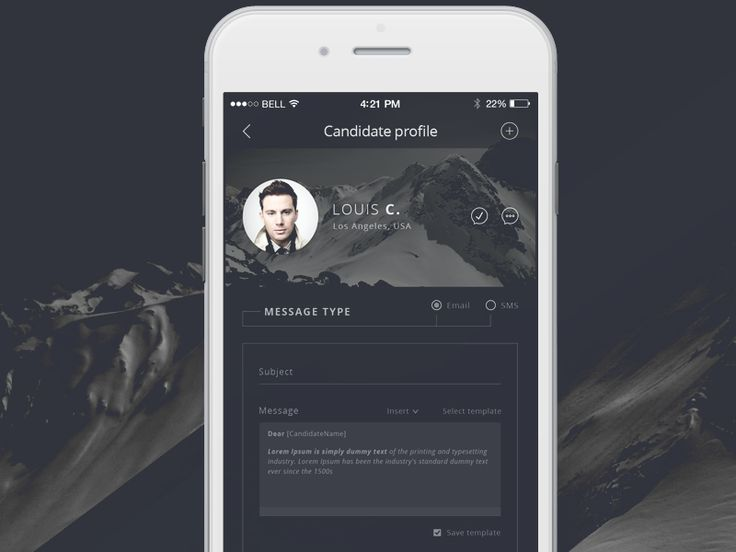Talent Scout - Send message - iPhone 6 app by Robert Berki