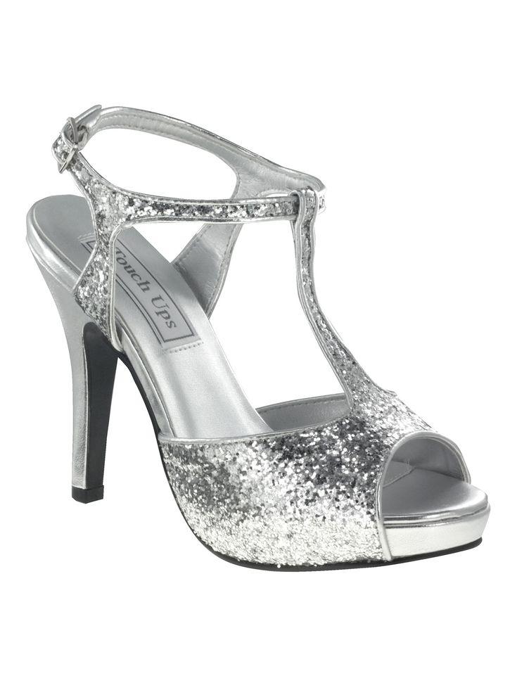 Silver Glitter Glitter Zoey T-Strap Heels - Unique Vintage - Prom dresses,  retro dresses, retro swimsuits.