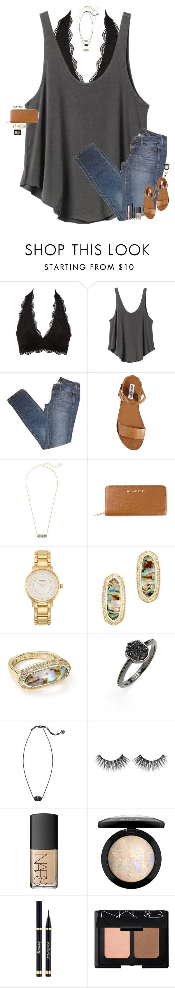 """""""•Being alone is better than being with the wrong person•"""" by maggie-prep ❤ liked on Polyvore featuring Charlotte Russe, RVCA, MANGO, Steve Madden, Kendra Scott, MICHAEL Michael Kors, Kate Spade, Huda Beauty, NARS Cosmetics and MAC Cosmetics"""