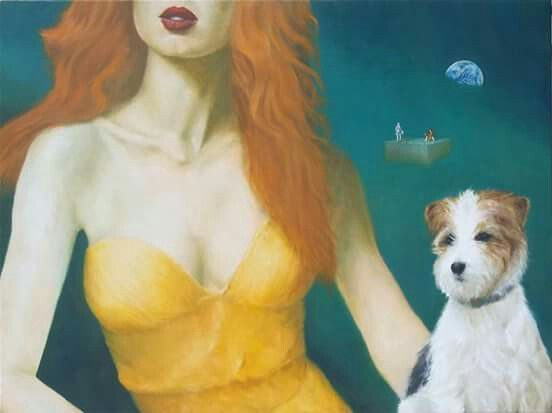 "#Andrelli #Woman #dog #painting #oil #canvas #Earth #cube #planet #Baroque #Red #hair #lips #gold #dress ""From Soul to Soul"" 90x120 cm oil on canvas /2015/ sold"