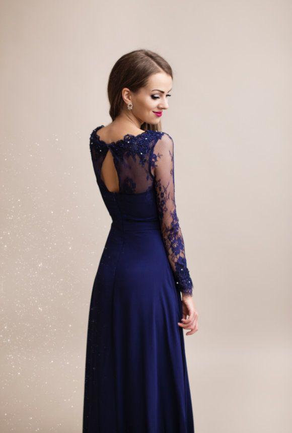Společenské dlouhé šaty WHITNEY modrá  61ddd55fed