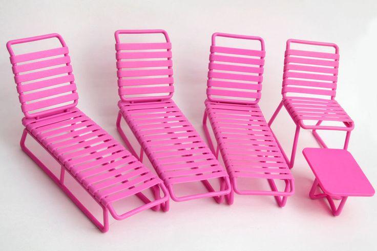 Vtg 80s Barbie Beach Blast Lot Lounge Chair Legs Pink Table Patio Pool Furniture #Mattel