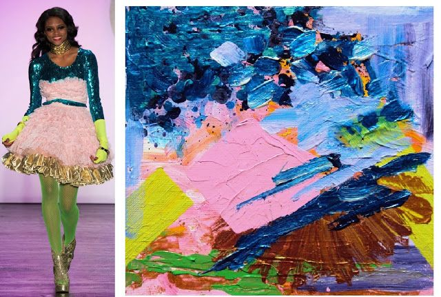 Splash Connect: Betsey Johnson - Spring 2016 Ready-to-wear - Palette Splash - Metallic Blue / Bright Peach Pink / Acid Yellow Green / Gold / Lilac