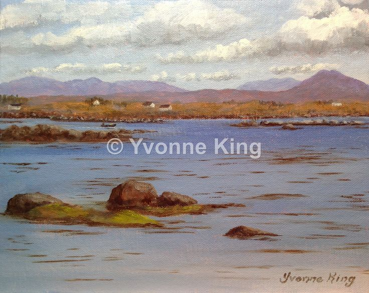 "On World Art Day, this is one of my favourite places to paint! WAW4-2015-Yvonne-King-Seascape-""Clouds Building over the Bay""-10""x8"". My Grandparents home overlooked Bertraghboy Bay and Inishnee Island with the Twelve Bens Mountains and Cashel Hill to the south. I remember my Grandfather in his later years leaning on the wall outside looking at this scene and smoking his pipe."