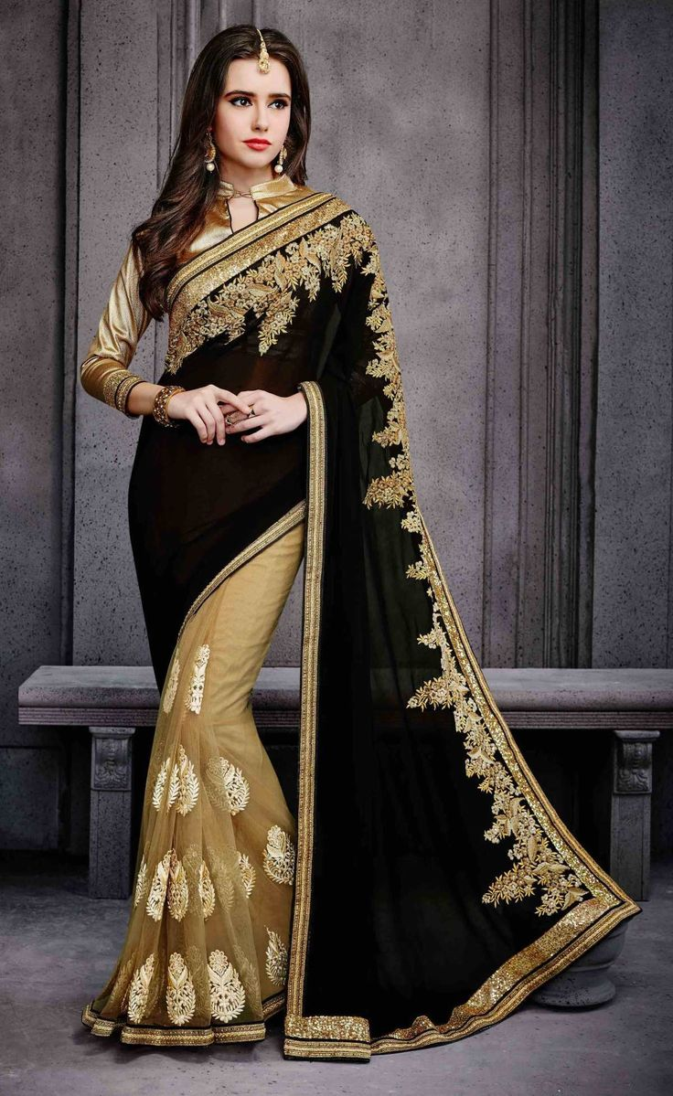 Fine-looking Golden Colored Embroidered Georgette Net Saree 3029