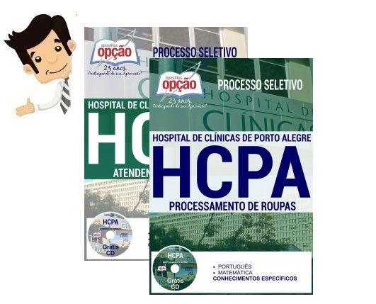 Apostilas preparatórias do Concurso do Hospital de Clínicas de Porto Alegre - HCPA 2016, cargos Profissional de Apoio I  - Processamento de Roupas e Profissional de Apoio II - Atendente de Nutrição. Para Formação de Cadastro de Reserva, com remuneração inicial de R$ 1.377,72 a  R$ 1.708,97 e carga horária de 220h mensais. O candidato deve possuir nível fundamental completo...