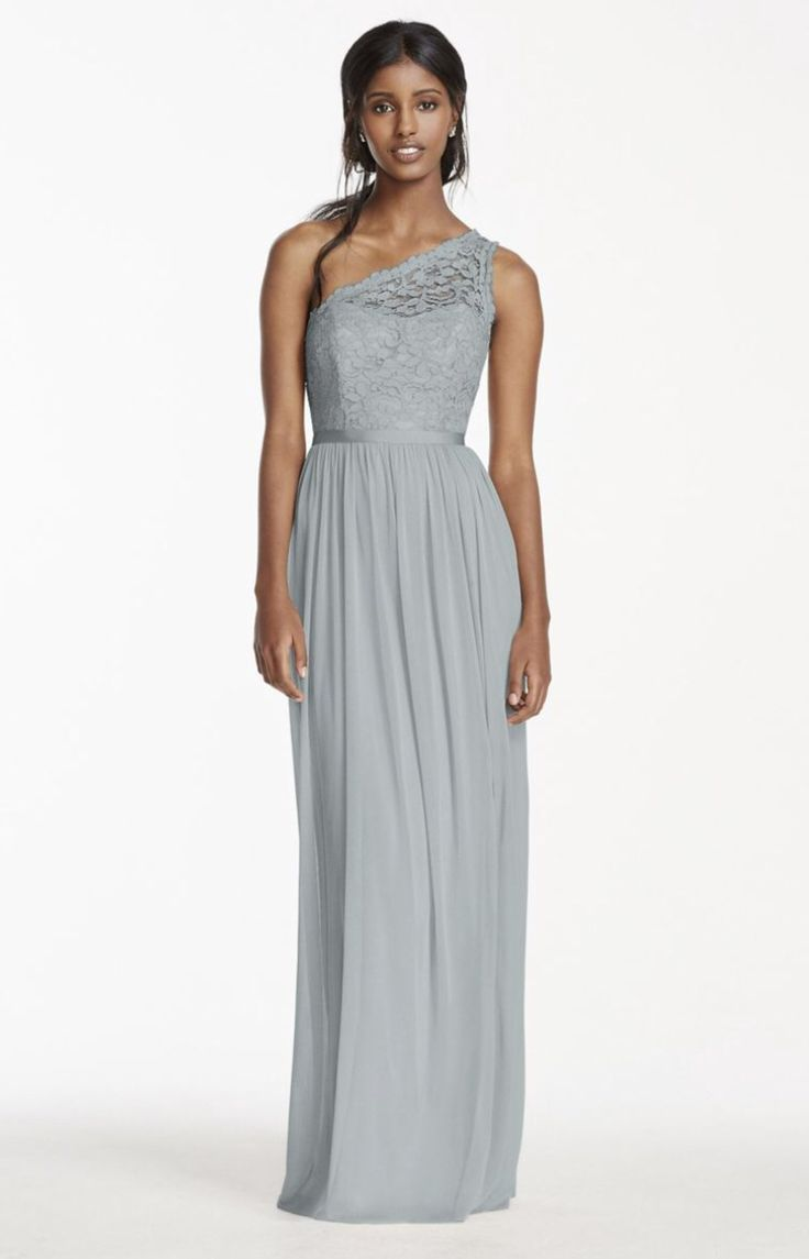 David's Bridal- Lace One Shoulder Bridesmaid Dress - Mystic