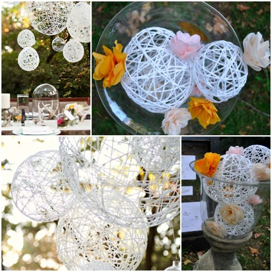 String Spheres- pretty in a bowl, on a table, or hanging. Colorful ones would be pretty too, but  I love the white.: Decor Ideas, String Sphere, Best Wedding Ideas, Decor Parties, Home Decor, Parties Ideas, Christmas Wedding, Special Events, Diy String