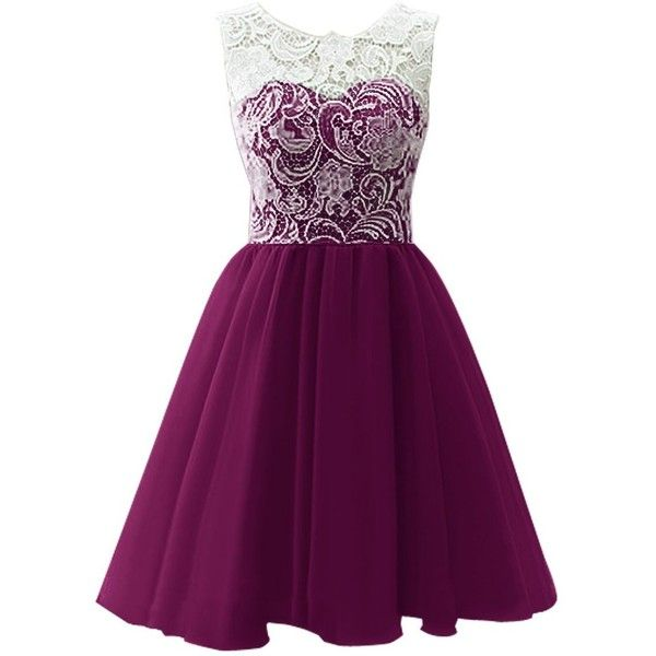 Dresstells Short Tulle Prom Dress Bridesmaid Homecoming Gown with Lace ($70) ❤ liked on Polyvore featuring dresses, vestidos, purple, short dresses, purple lace dress, mini dress, short tulle dress and tulle dress
