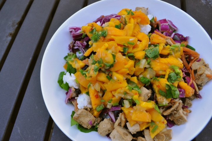 Roasted garlic tofu salad with cilantro rice, black beans & a mango salsa