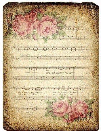 Musica rosas partitura postal.